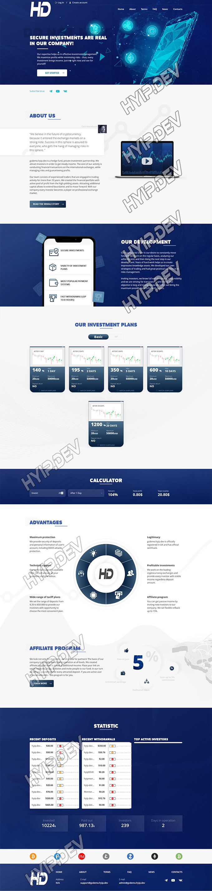 goldcoders hyip template no. 128, home page screenshot