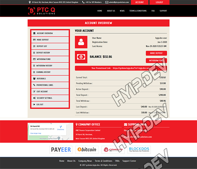 goldcoders hyip template no. 129, account page screenshot