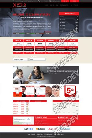 goldcoders hyip template no. 129, home page screenshot