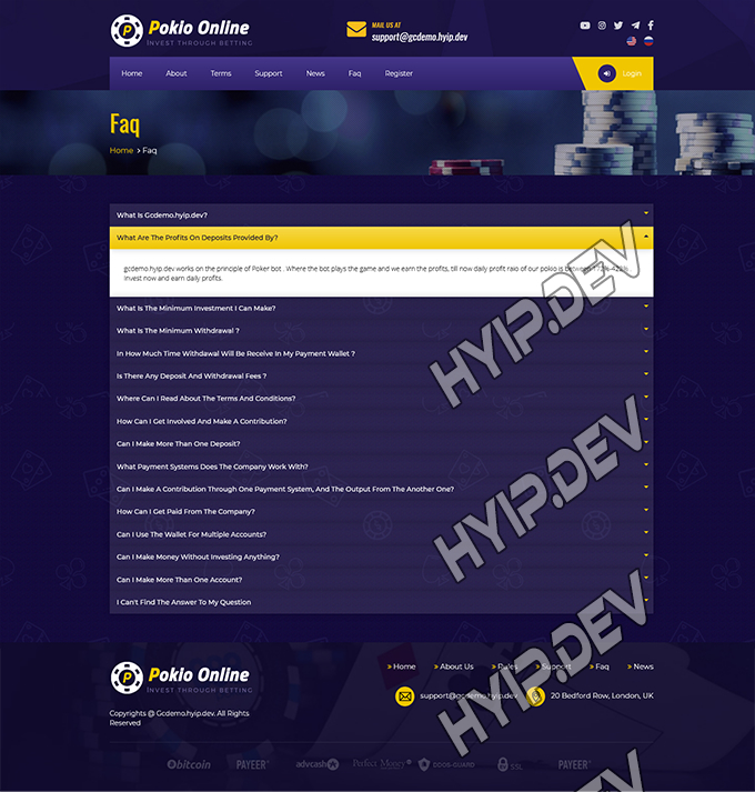 goldcoders hyip template no. 130, default page screenshot