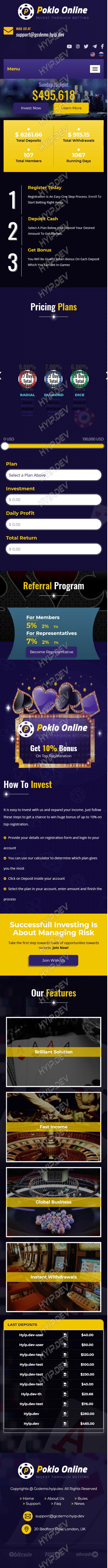 goldcoders hyip template no. 130, responsive page screenshot
