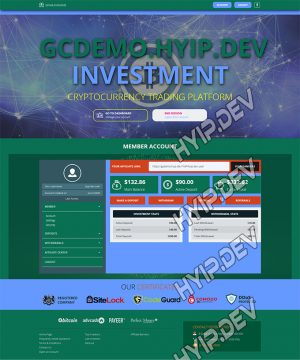 goldcoders hyip template no. 131, account page screenshot