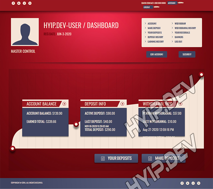 goldcoders hyip template no. 134, account page screenshot