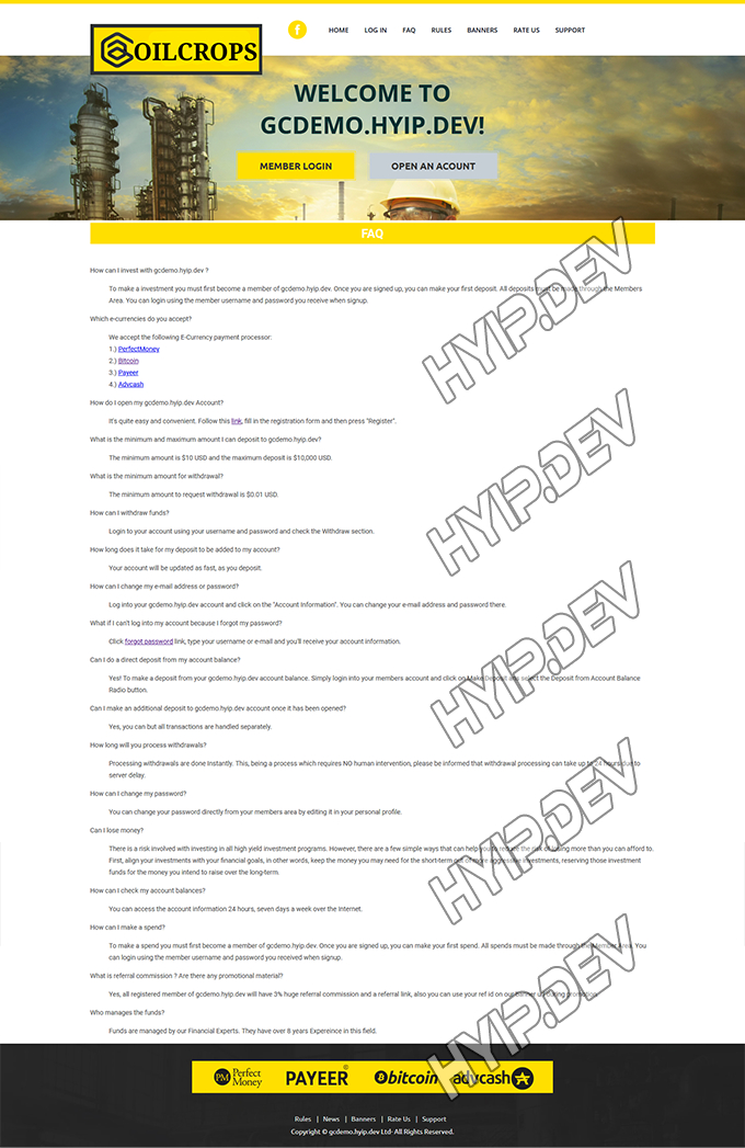 goldcoders hyip template no. 135, default page screenshot
