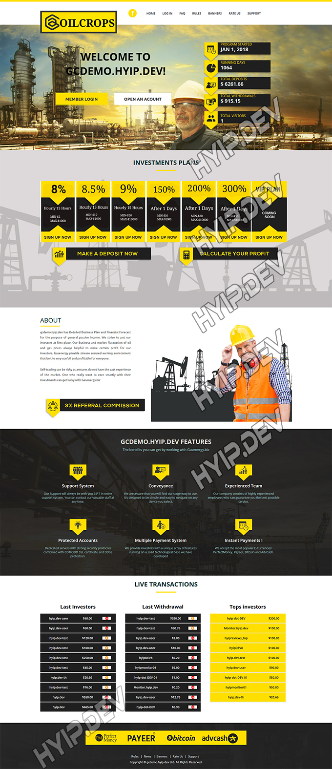 goldcoders hyip template no. 135, home page screenshot