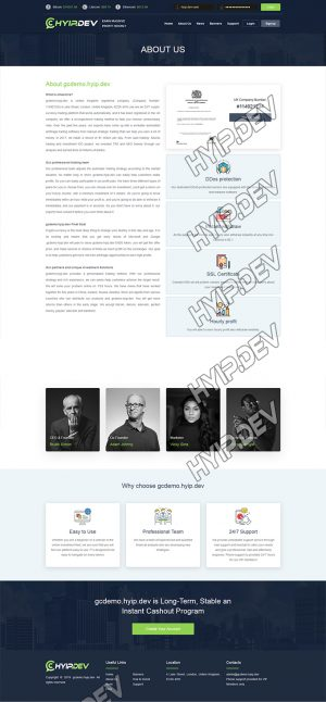 goldcoders hyip template no. 136, about page screenshot