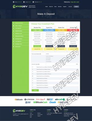 goldcoders hyip template no. 136, deposit page screenshot