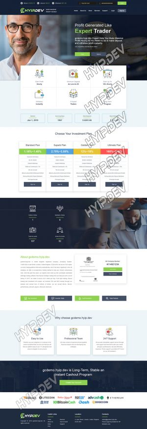goldcoders hyip template no. 136, home page screenshot