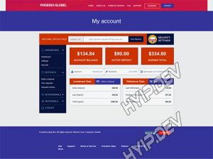 goldcoders hyip template no. 137, account page screenshot