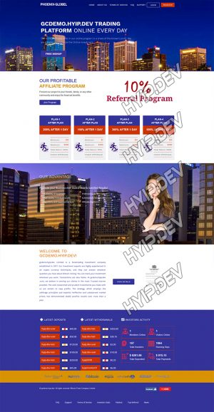goldcoders hyip template no. 137, home page screenshot