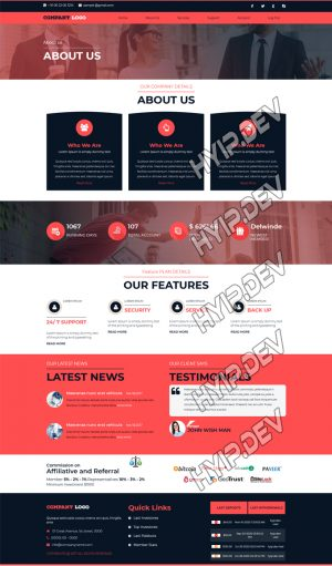 goldcoders hyip template no. 138, default page screenshot