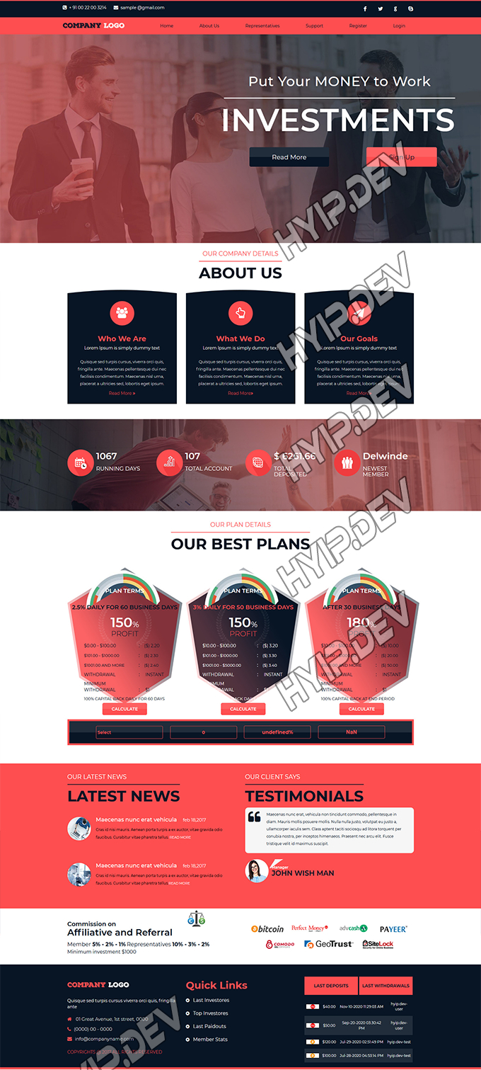 goldcoders hyip template no. 138, home page screenshot