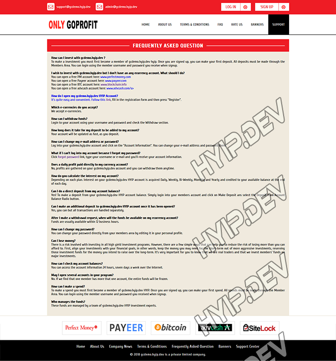 goldcoders hyip template no. 139, default page screenshot