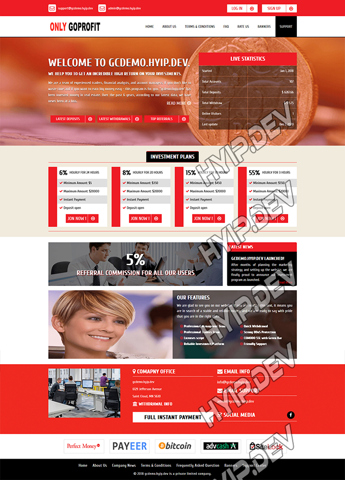 goldcoders hyip template no. 139, home page screenshot