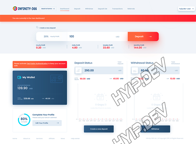 goldcoders hyip template no. 140, account page screenshot
