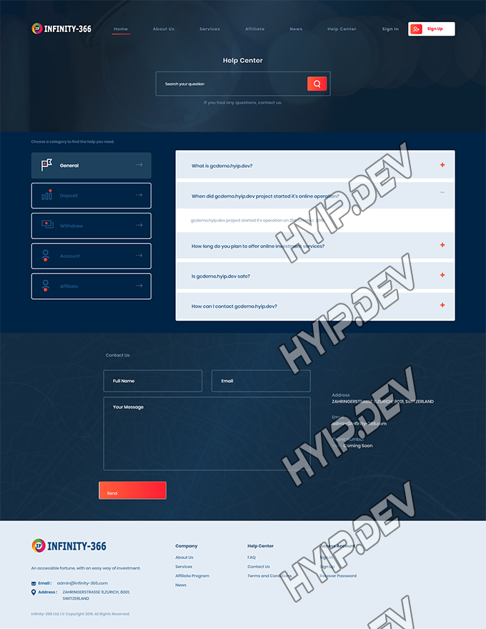goldcoders hyip template no. 140, default page screenshot