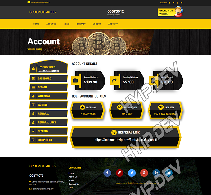 goldcoders hyip template no. 142, account page screenshot