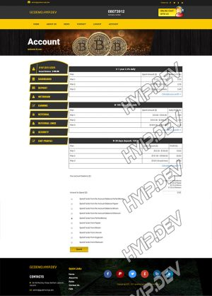 goldcoders hyip template no. 142, deposit page screenshot