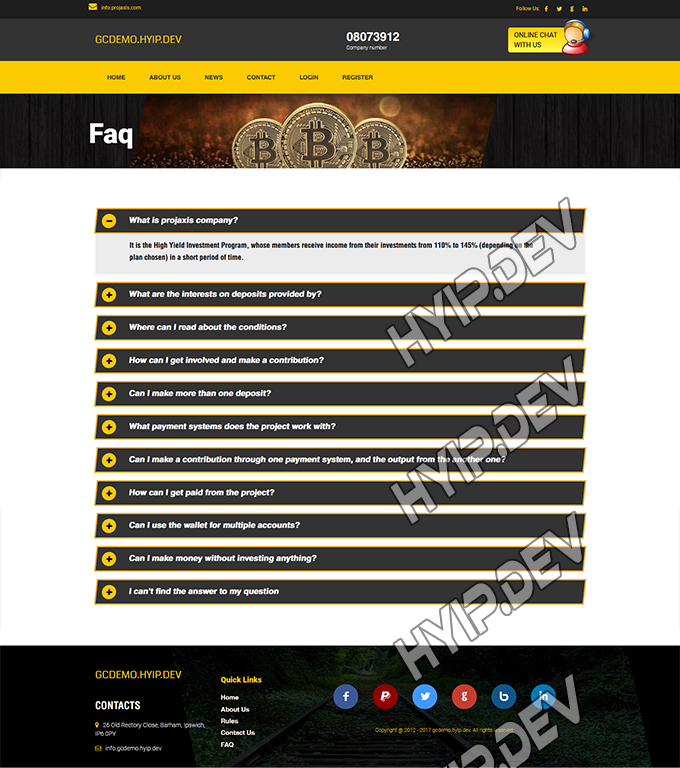 goldcoders hyip template no. 142, default page screenshot