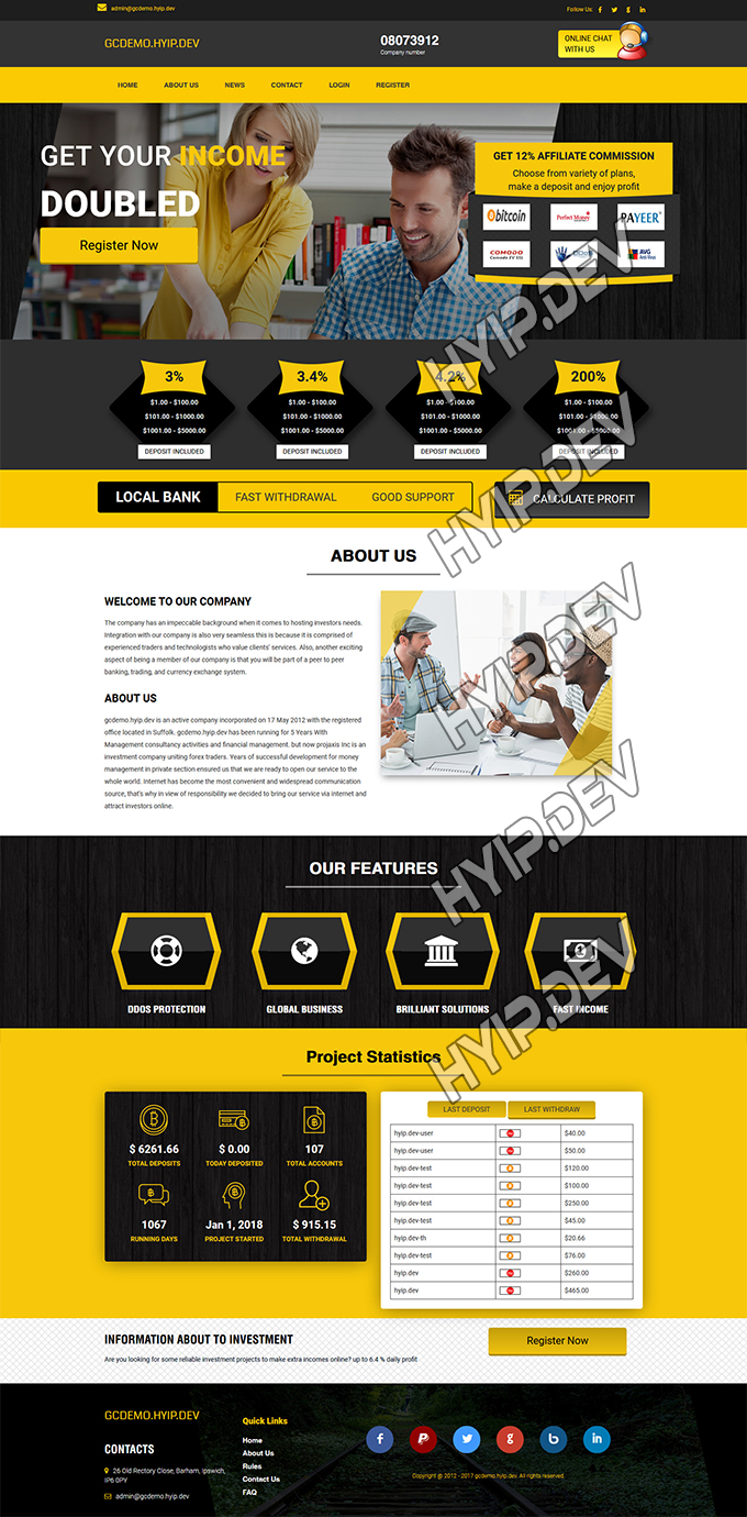 goldcoders hyip template no. 142, home page screenshot