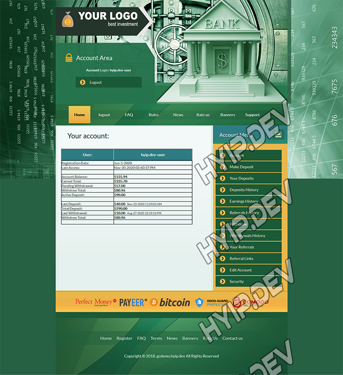 goldcoders hyip template no. 143, account page screenshot
