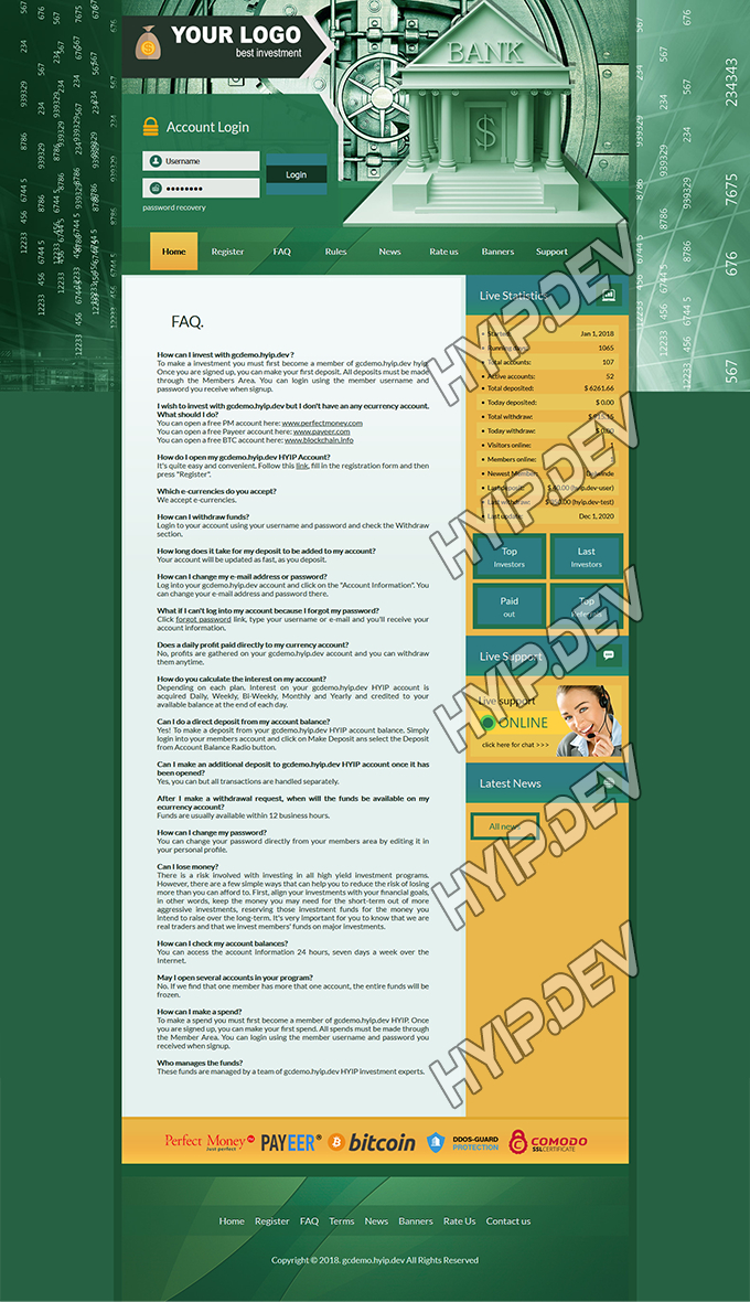 goldcoders hyip template no. 143, default page screenshot