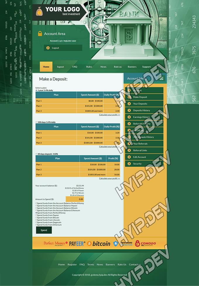 goldcoders hyip template no. 143, deposit page screenshot