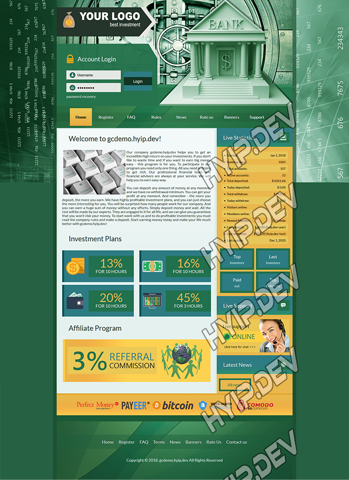 goldcoders hyip template no. 143, home page screenshot