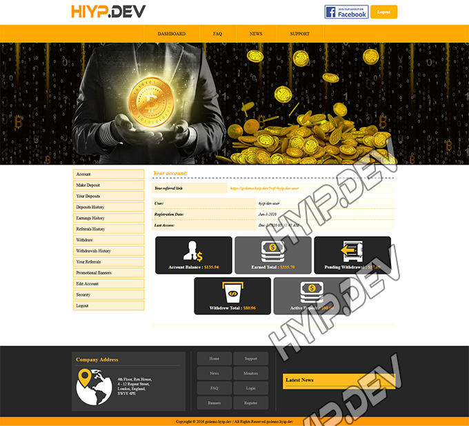 goldcoders hyip template no. 145, account page screenshot