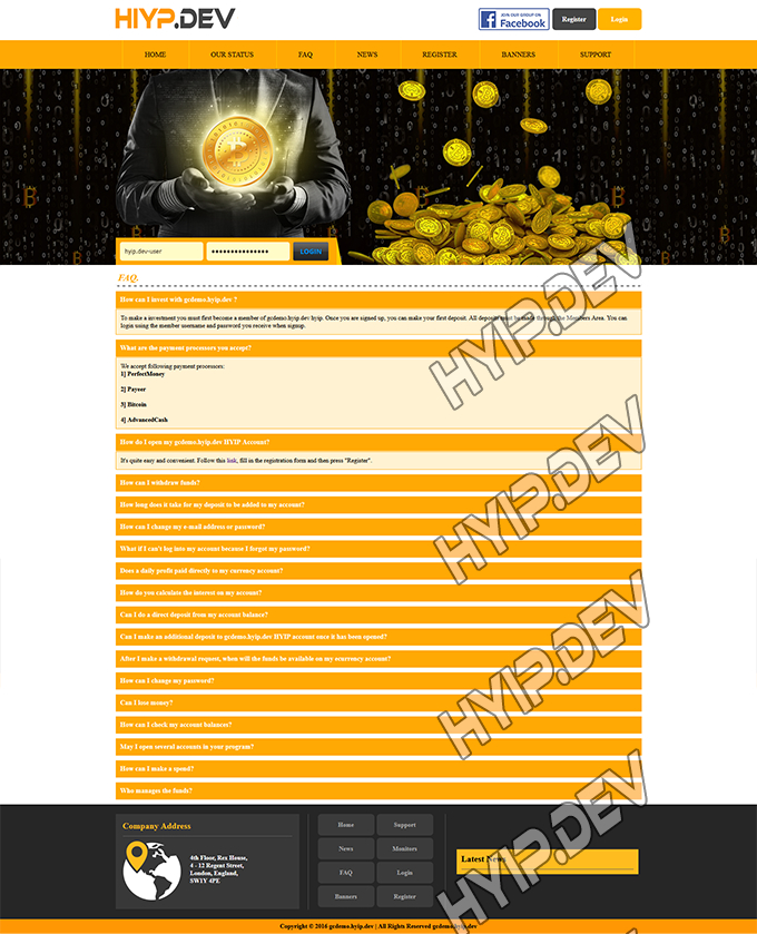 goldcoders hyip template no. 145, default page screenshot
