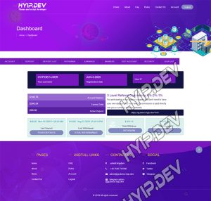 goldcoders hyip template no. 146, account page screenshot