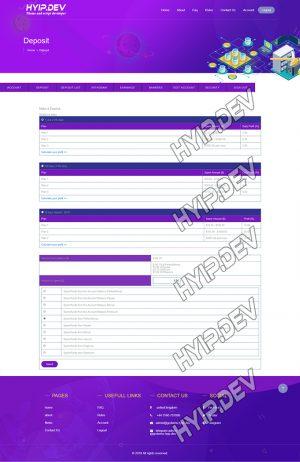 goldcoders hyip template no. 146, deposit page screenshot