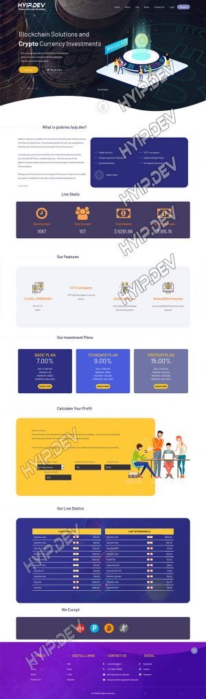 goldcoders hyip template no. 146, home page screenshot