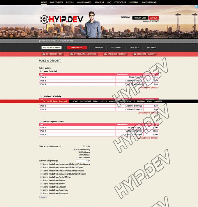goldcoders hyip template no. 147, deposit page screenshot