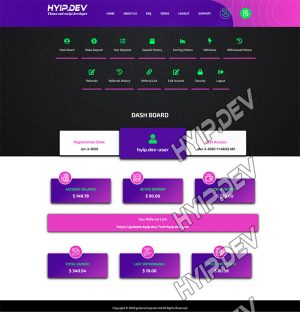 goldcoders hyip template no. 148, account page screenshot