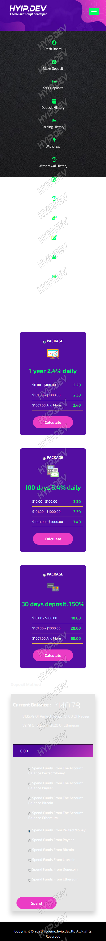 goldcoders hyip template no. 148, mobile page screenshot