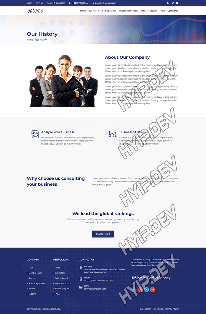 goldcoders hyip template no. 150, about page screenshot
