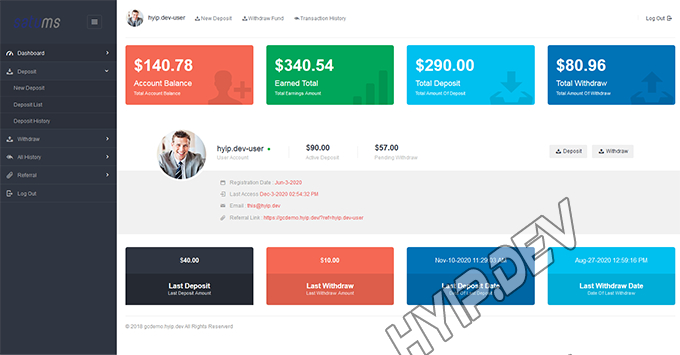 goldcoders hyip template no. 150, account page screenshot