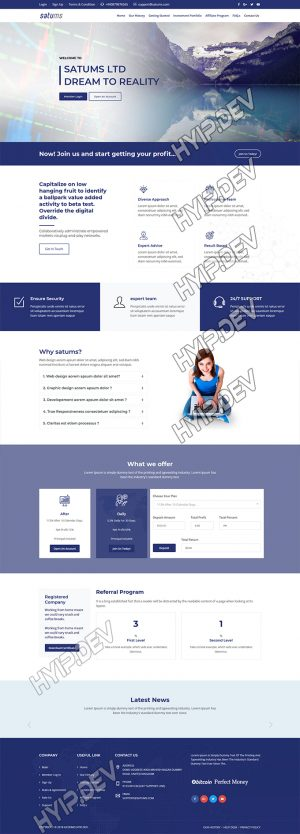 goldcoders hyip template no. 150, home page screenshot