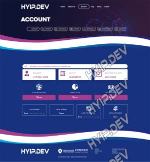 goldcoders hyip template no. 151, account page screenshot