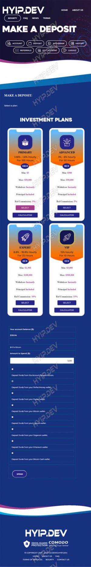 goldcoders hyip template no. 151, mobile page screenshot