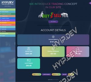 goldcoders hyip template no. 152, account page screenshot