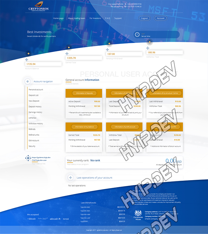 goldcoders hyip template no. 153, account page screenshot