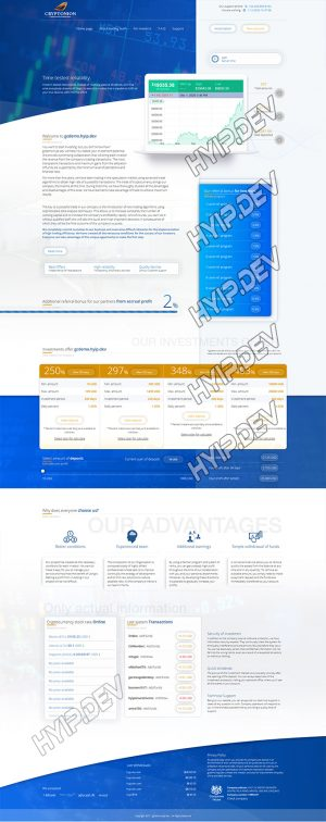 goldcoders hyip template no. 153, home page screenshot
