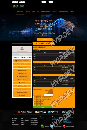 goldcoders hyip template no. 157, deposit page screenshot