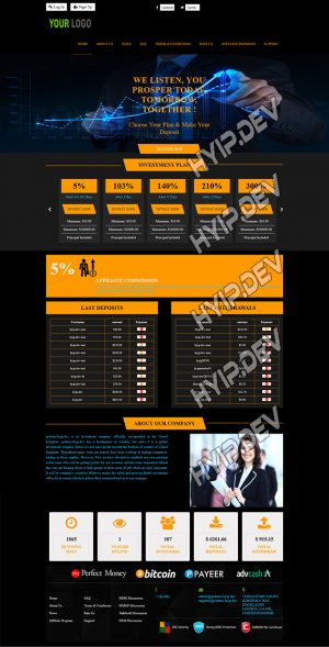goldcoders hyip template no. 157, home page screenshot