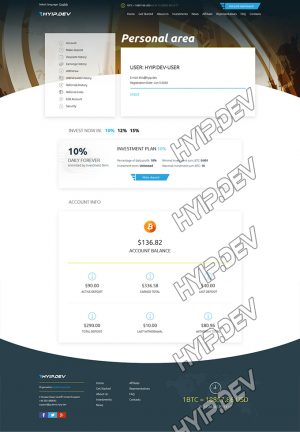 goldcoders hyip template no. 159, account page screenshot