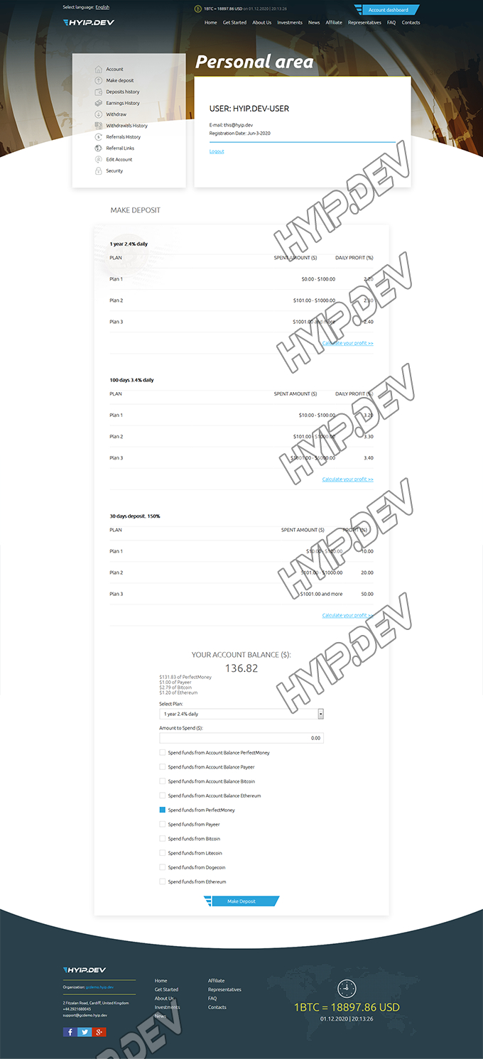 goldcoders hyip template no. 159, deposit page screenshot