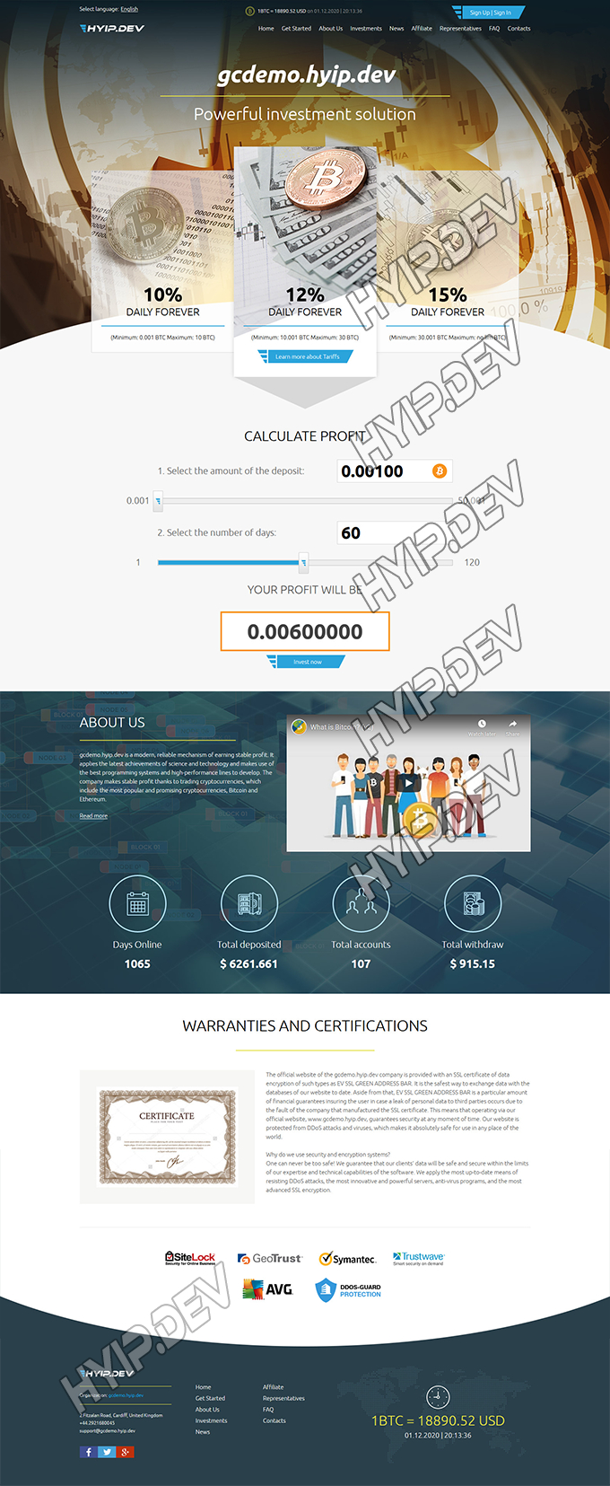 goldcoders hyip template no. 159, home page screenshot
