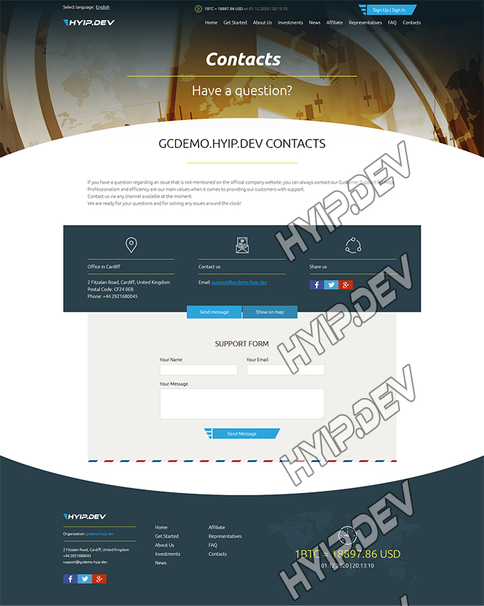 goldcoders hyip template no. 159, support page screenshot